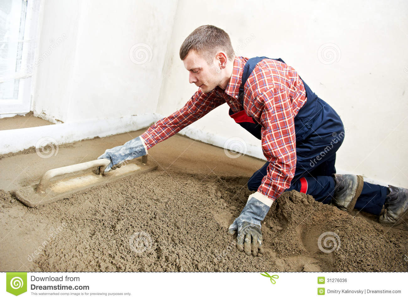Plasterer Concrete Worker At Floor Work Royalty Free Stock
