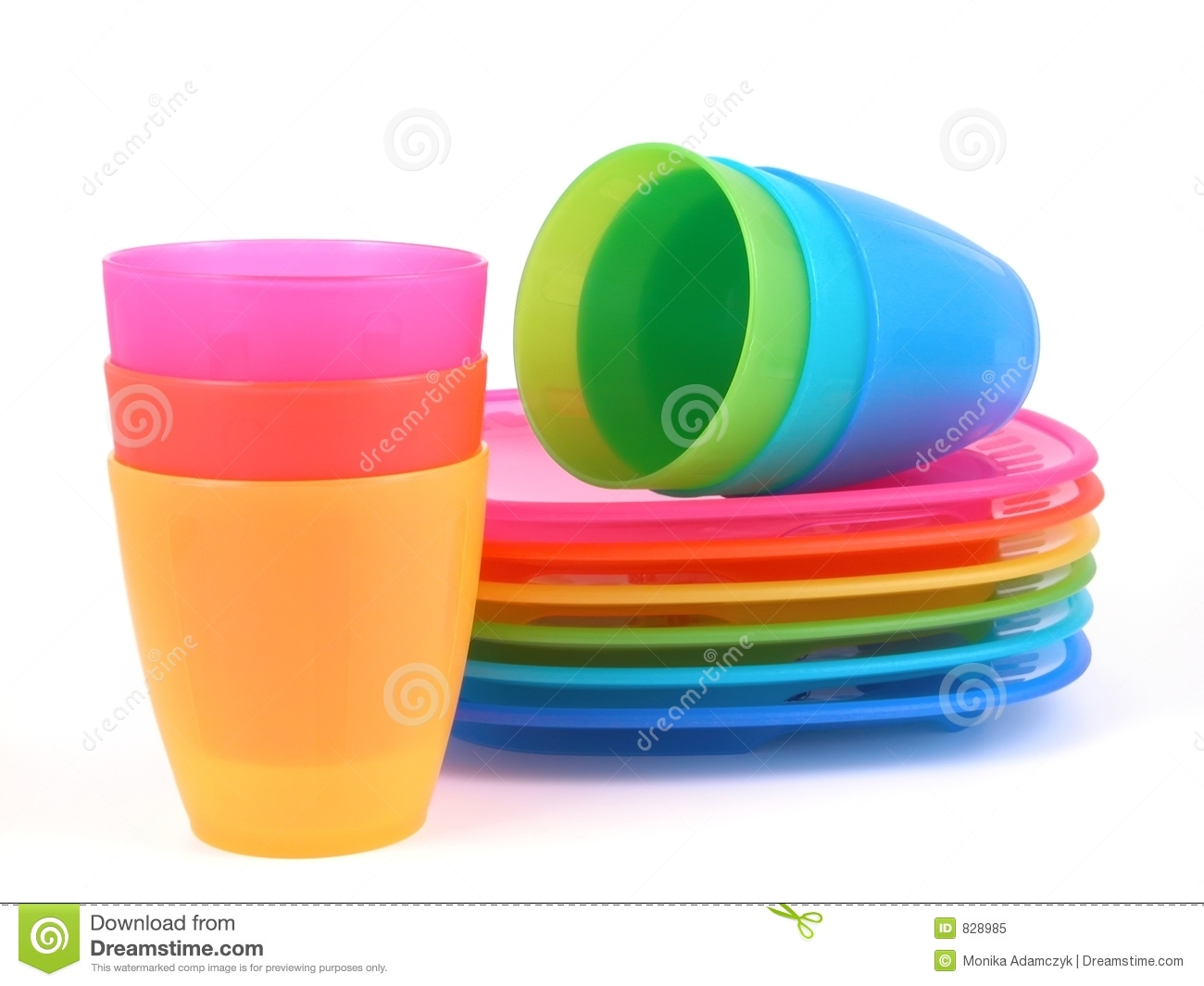 Plastic Platen Plastic Cups And Plates Royalty Free Stock Photo Image