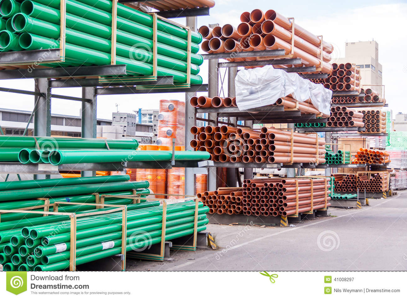 Warehouse Website Plastic Pipes In A Factory Or Warehouse Yard Stock Photo