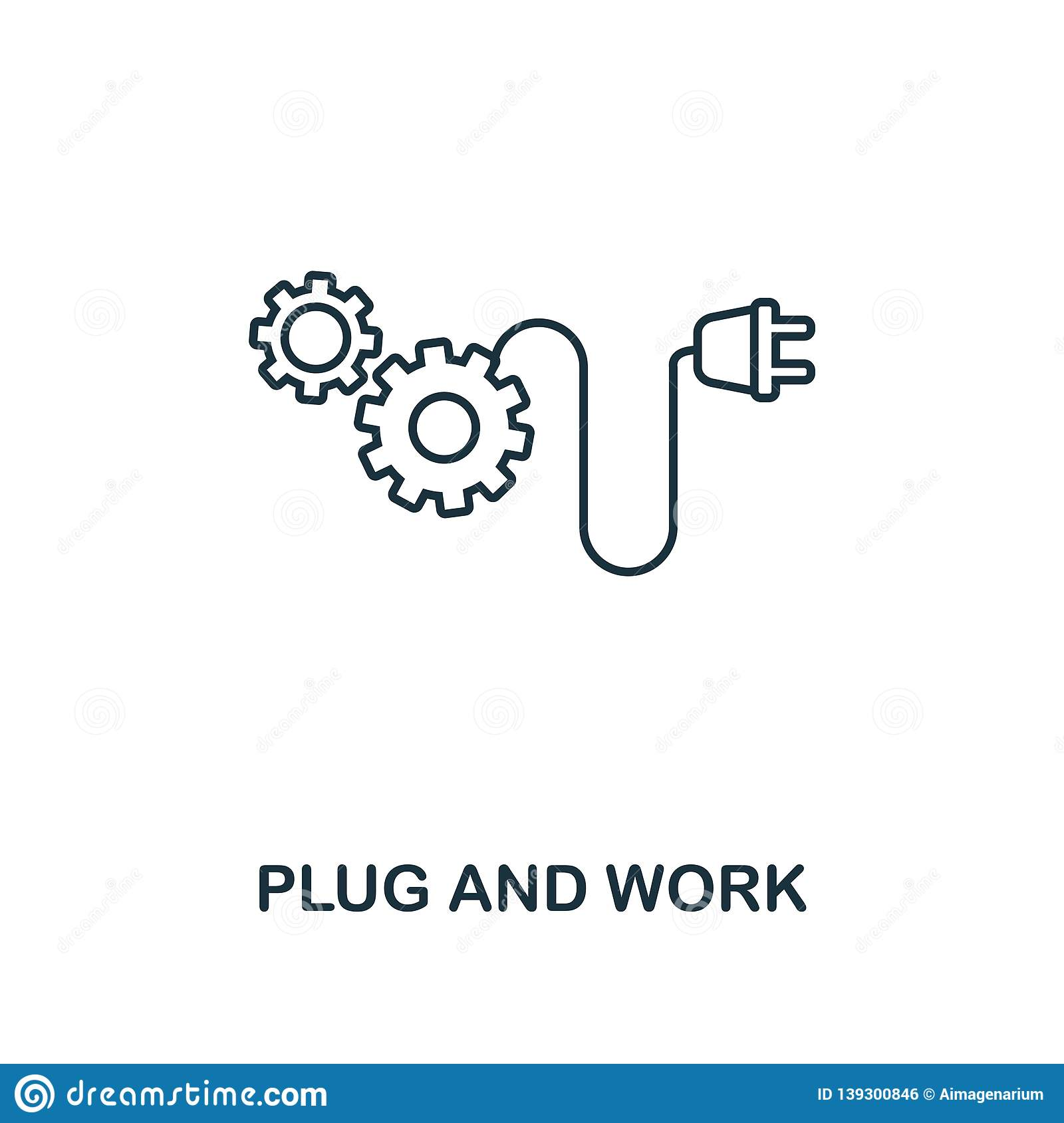 Ux Plug Plug And Work Icon Thin Line Style Industry 4 Icons Collection