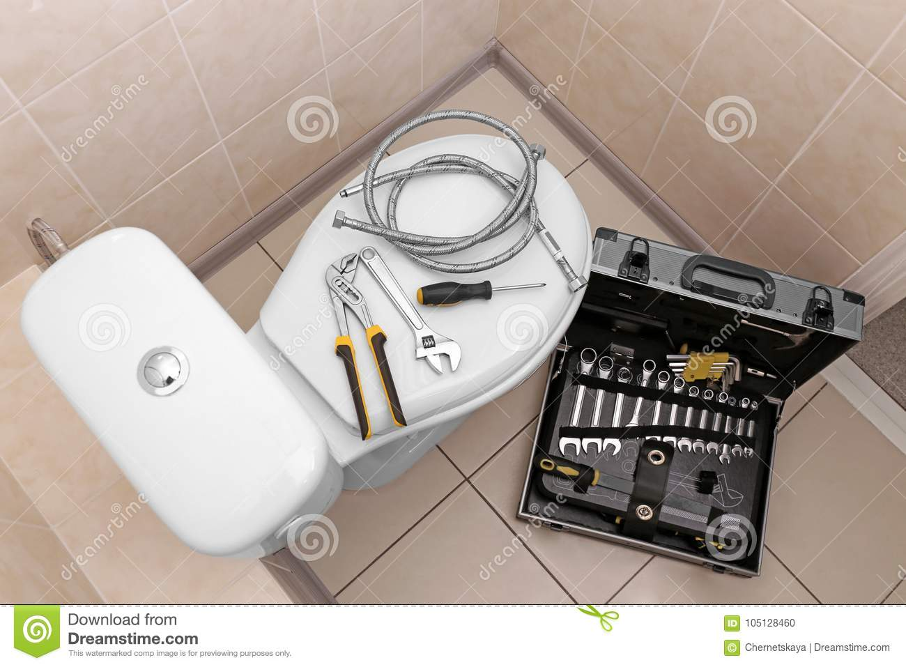 Install A Toilet Plumbers Tools On Toilet Stock Photo Image Of Install 105128460