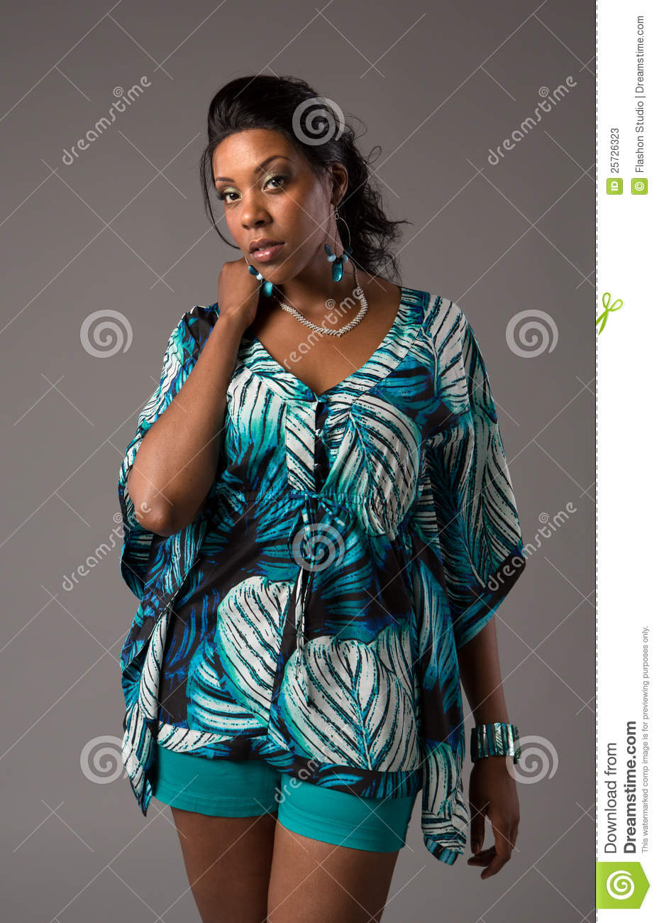 African Yellow Hair Plus Size Young African American Woman Portrait Stock
