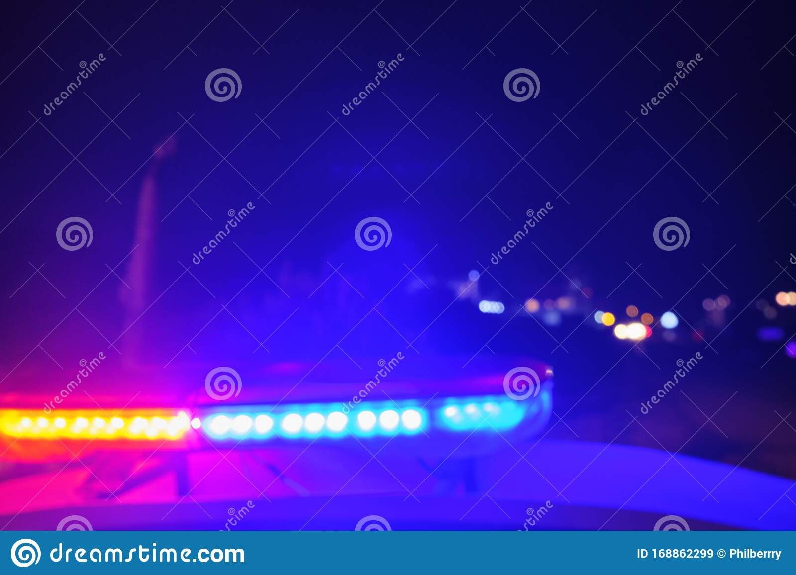 Police Car Flashing Lights In The Night Blurred Selective Focus Stock Image Image Of Speeding Flasher 168862299