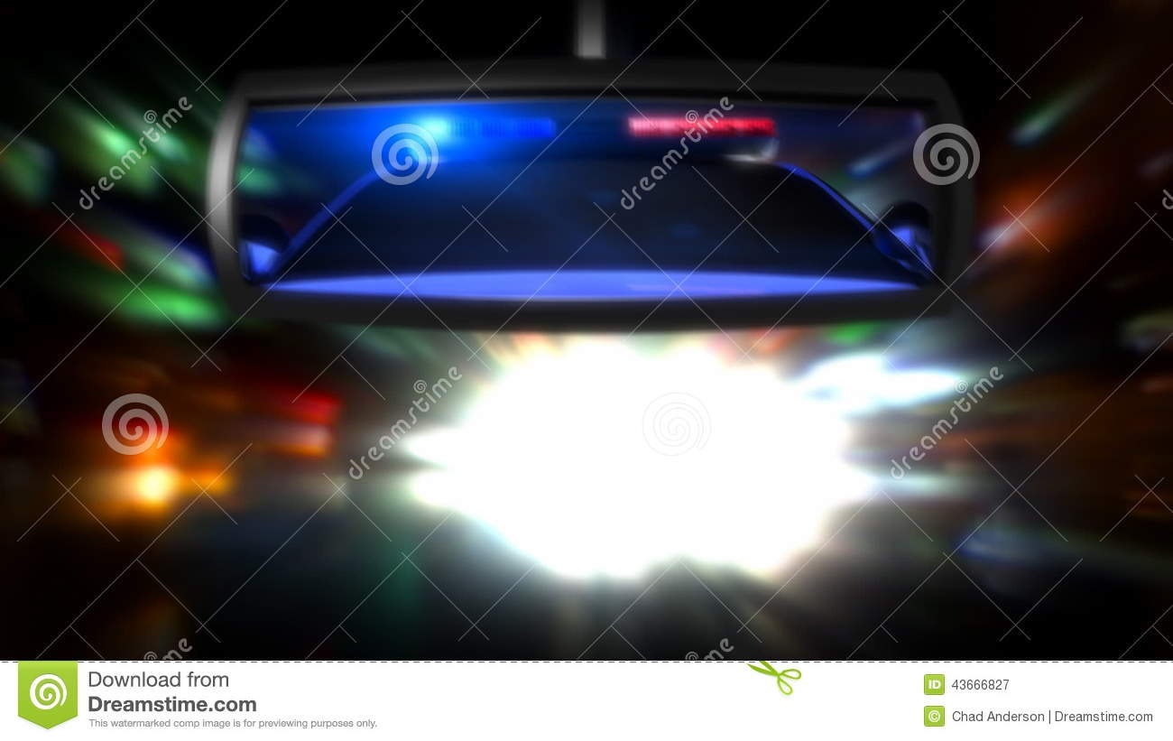 Police Car In The Rearview Mirror Stock Video Video Of Bulb Video 43666827