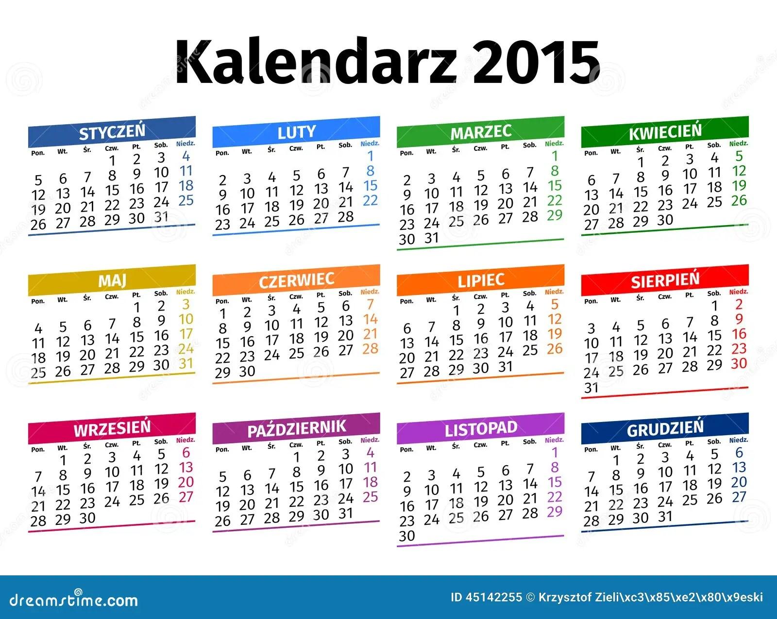 Month Quarter Calendar Month Wikipedia Polish Calendar 2015 Stock Vector Image 45142255