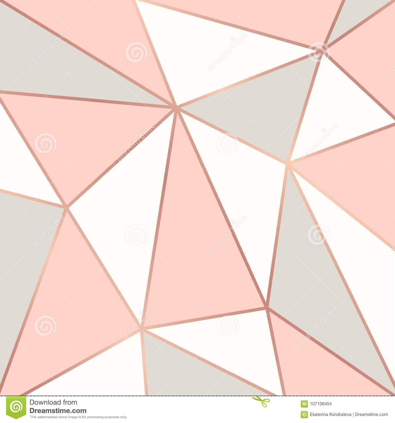Geometric Wallpaper Hd Polygonal Background With Rose Gold Frames Stock Vector