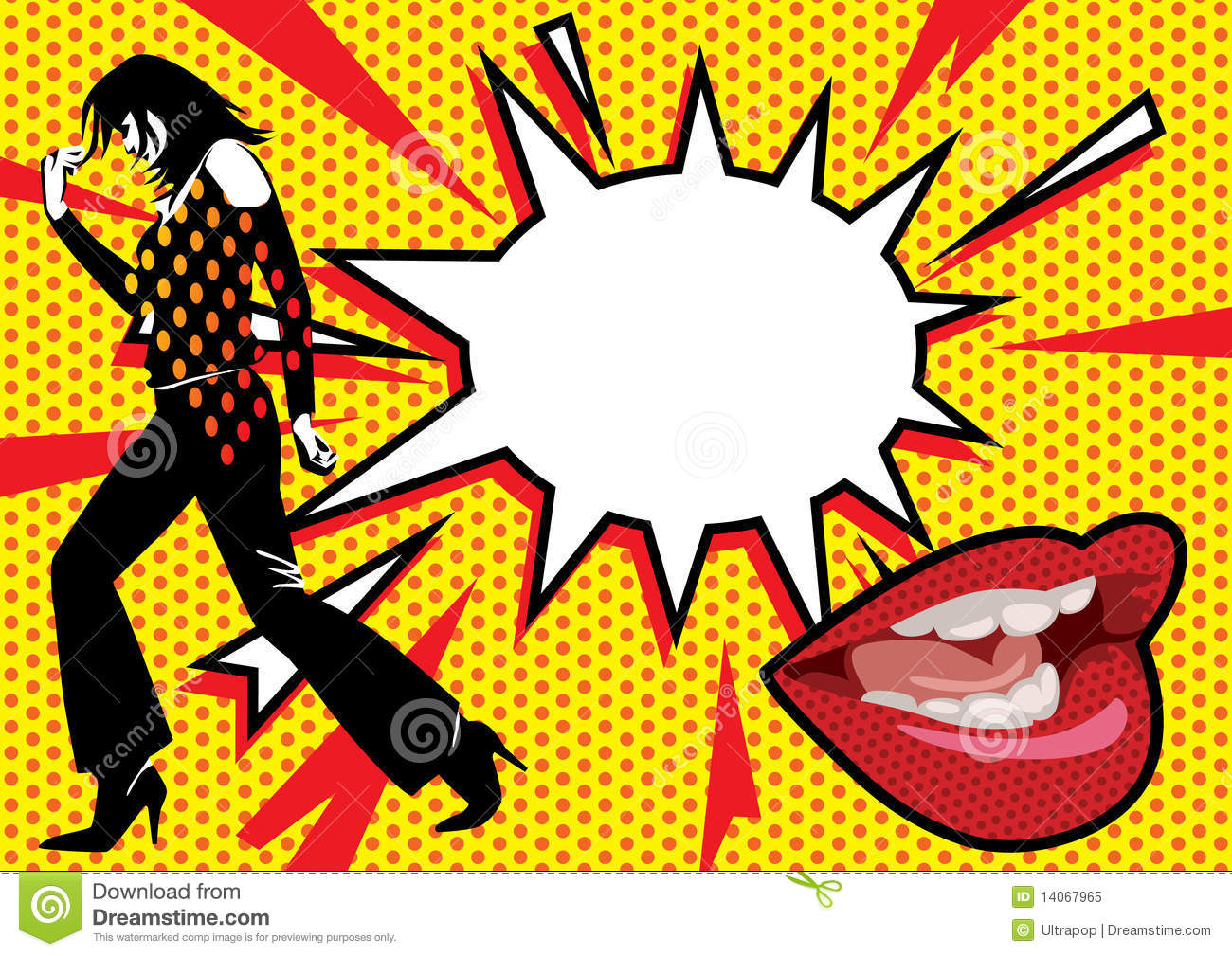 Girl Red Lips Wallpaper Pop Art Burst 2 Royalty Free Stock Photo Image 14067965