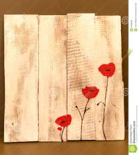 Poppy Flowers On Painted White Wood Stock Image - Image of ...