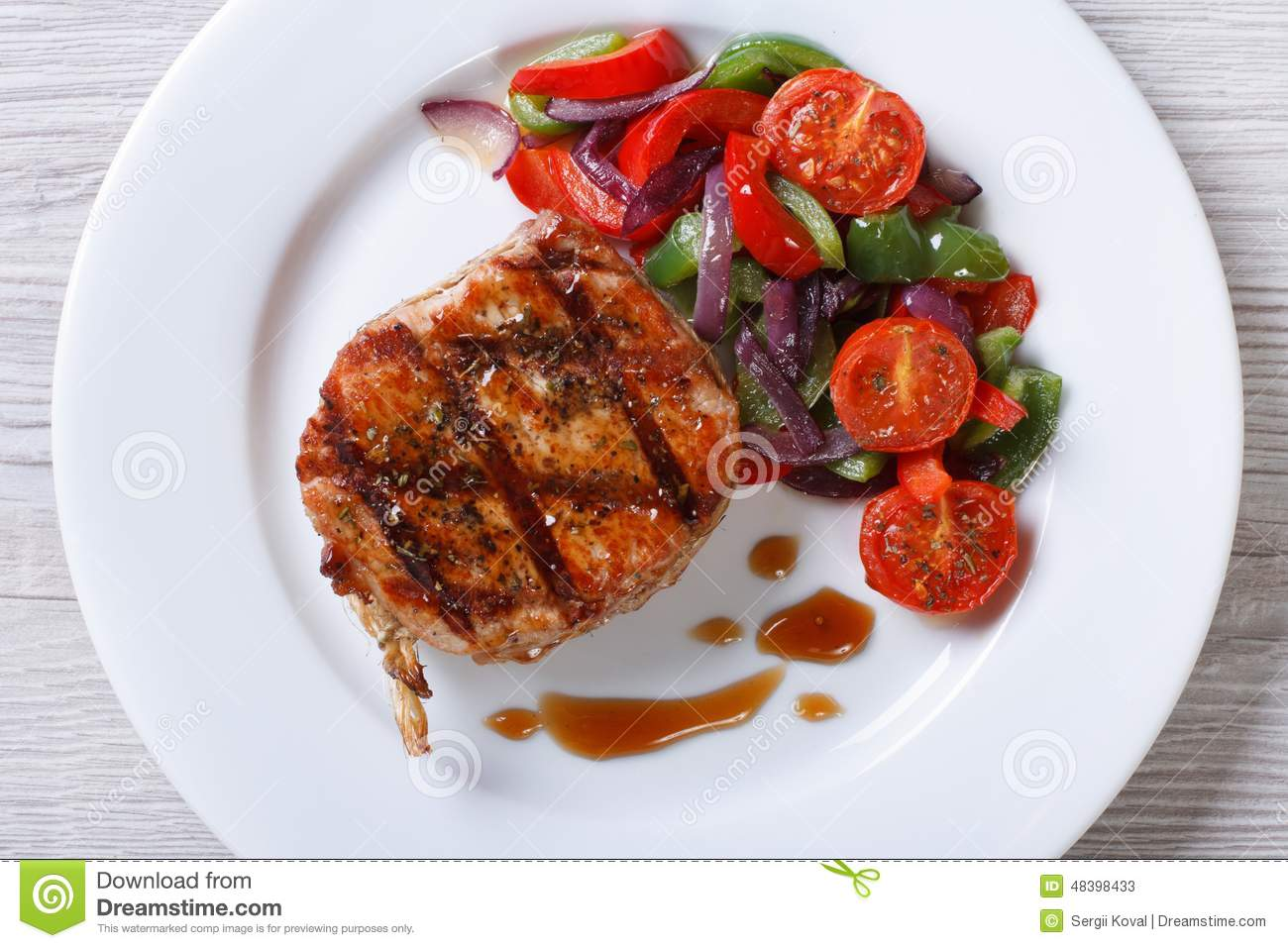 Plate With Food Top View Pork Steak With Vegetables And Sauce Top View Horizontal