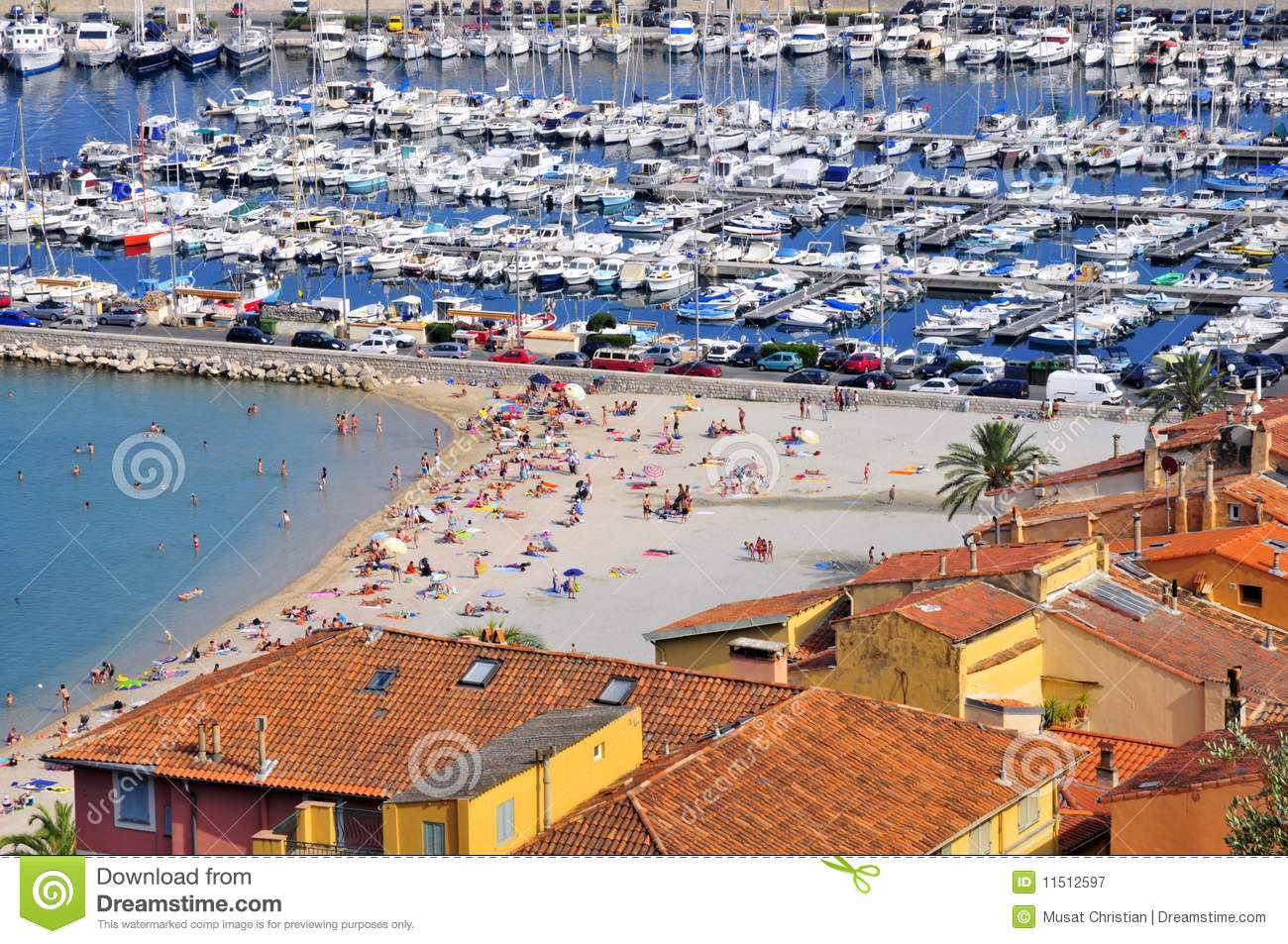 Menton Francia Port And Beach Of Menton In France Stock Image Image Of Tile