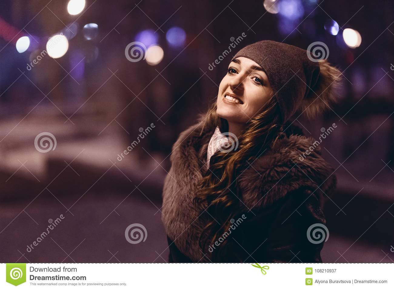Girl Night Lights Portrait Of Beautiful Girl In Hat And Fur Coat Night Stock Image