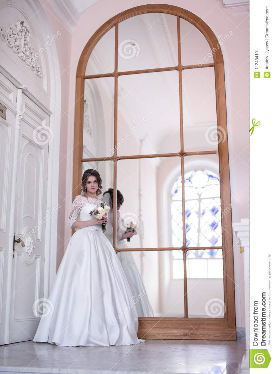 Huge Mirror Portrait Of The Bride Near The Mirror Stock Image Image Of Adult