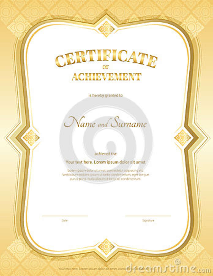 Portrait Certificate Of Achievement Template In Vector With Applied
