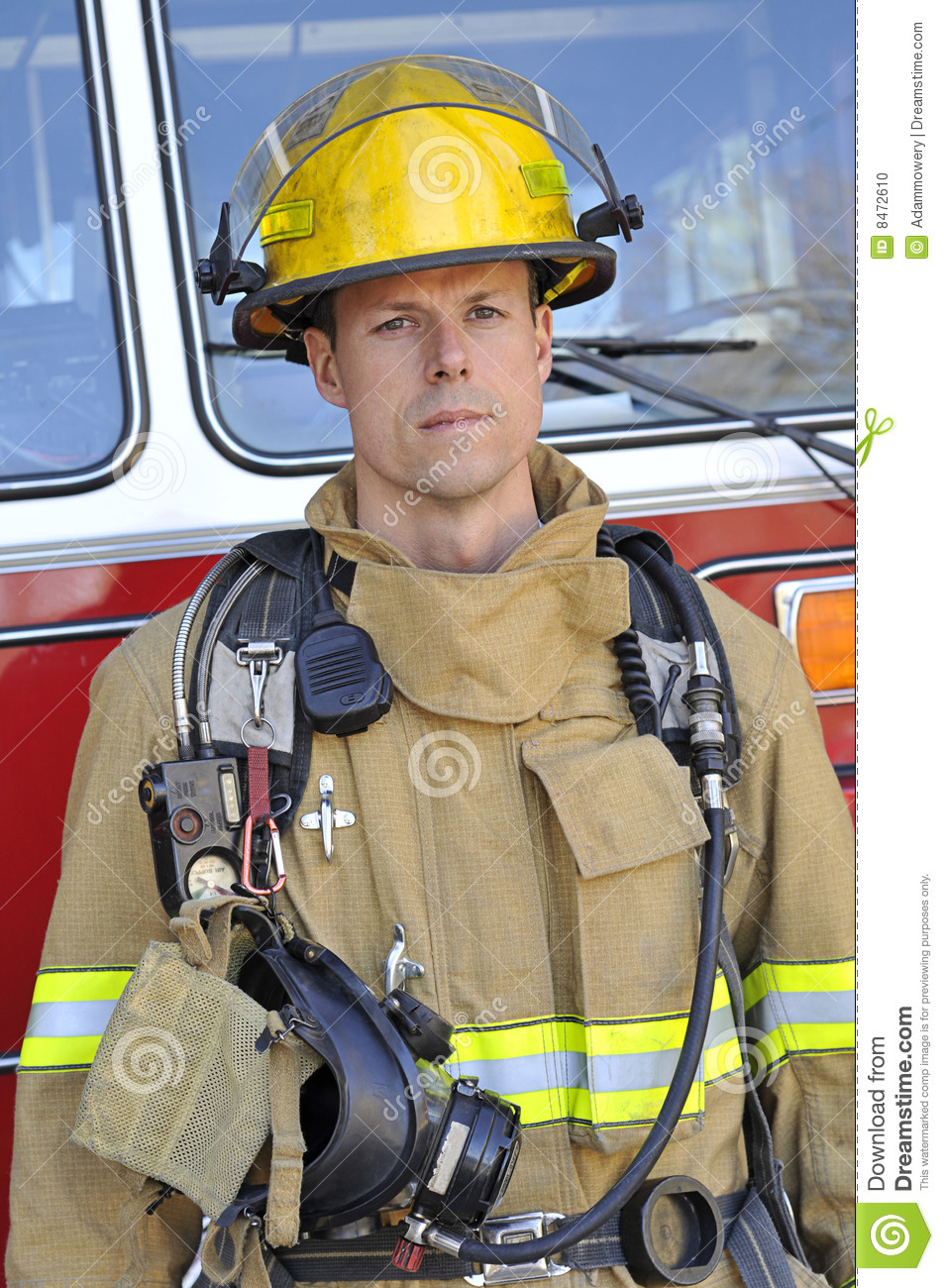 Free Job Alert Portrait Of A Fireman Stock Photo - Image: 8472610