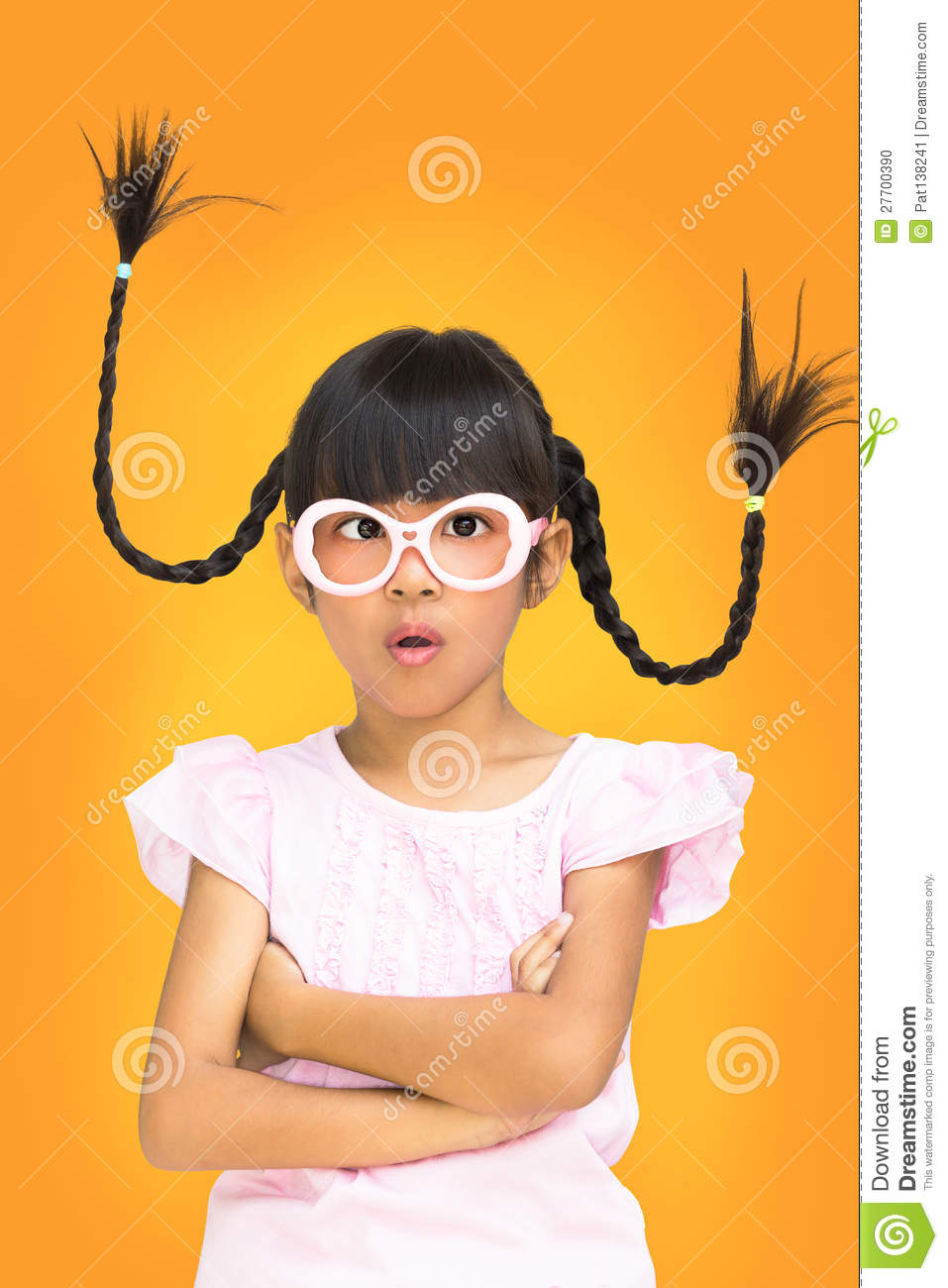 Hair Braids Thailand Portrait Funny Asian Little Girl With Pigtail Hair Stock