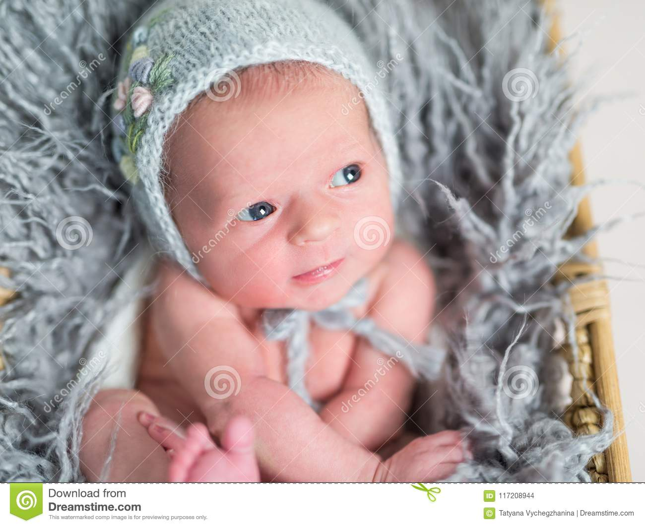 Newborn Babies With Blue Eyes Portrait Of A Little Newborn Baby With Blue Eyes Stock Photo