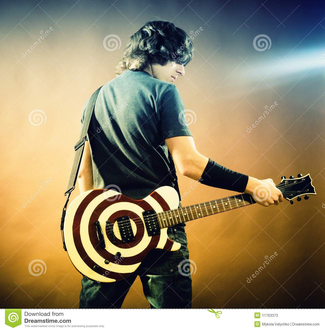 Modern Girl Wallpaper Free Download Portrait Of Man With Guitar Stock Image Image 11763373