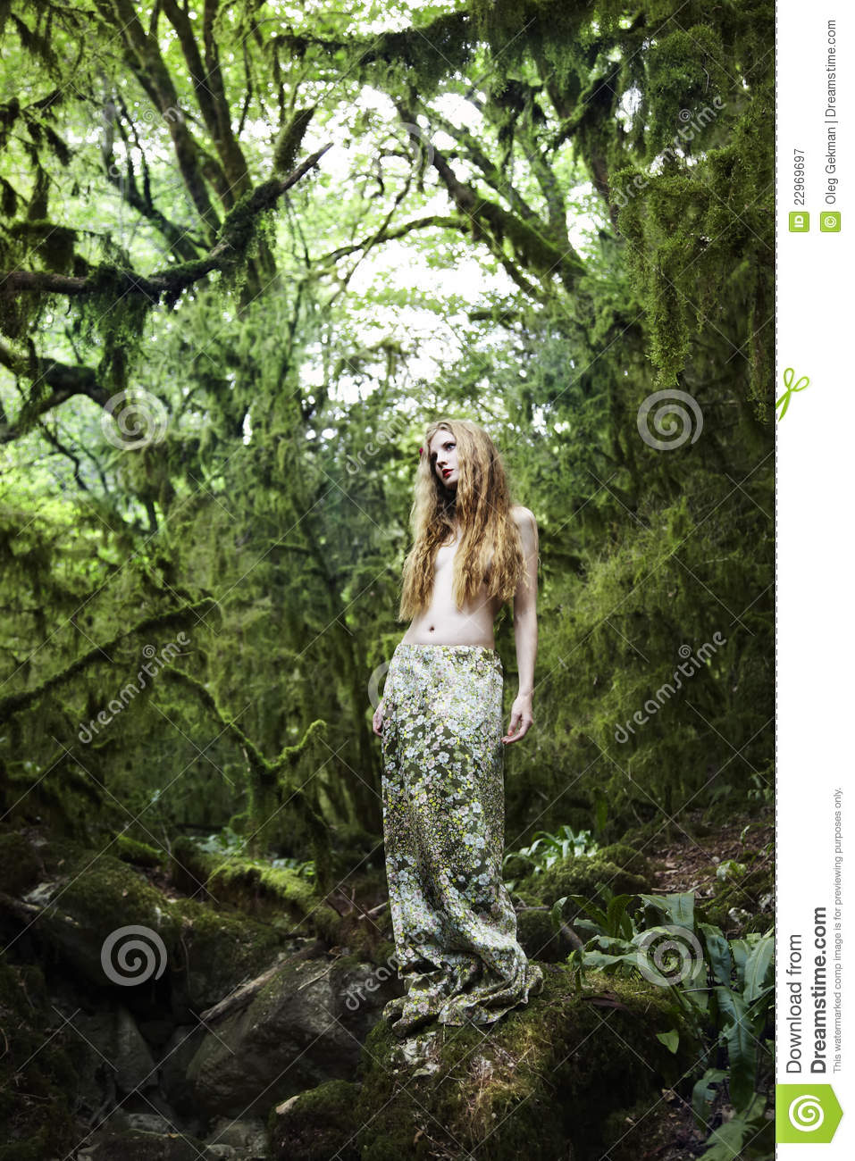 Gorgeous Fall Wallpaper Portrait Of Romantic Woman In Fairy Forest Stock Image