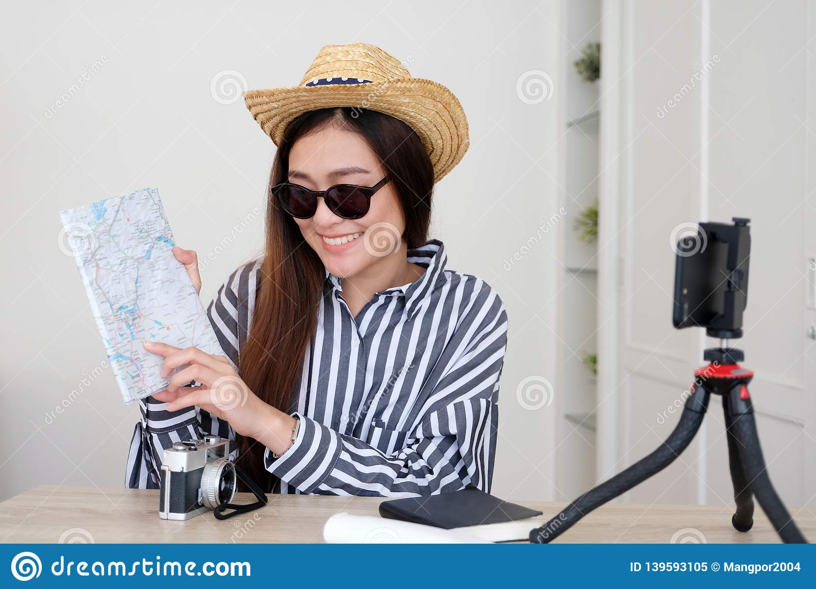 Travel Blog With Map Portrait Of Young Asian Woman Travel Blogger Holding Map