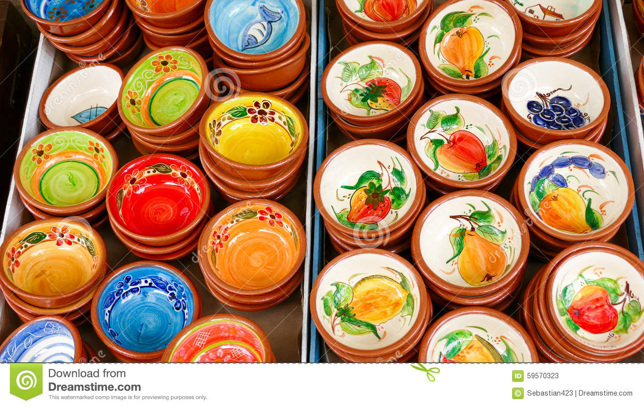 Colorful Fruit Bowl Portuguese Traditional Clay Bowls Stock Image Image