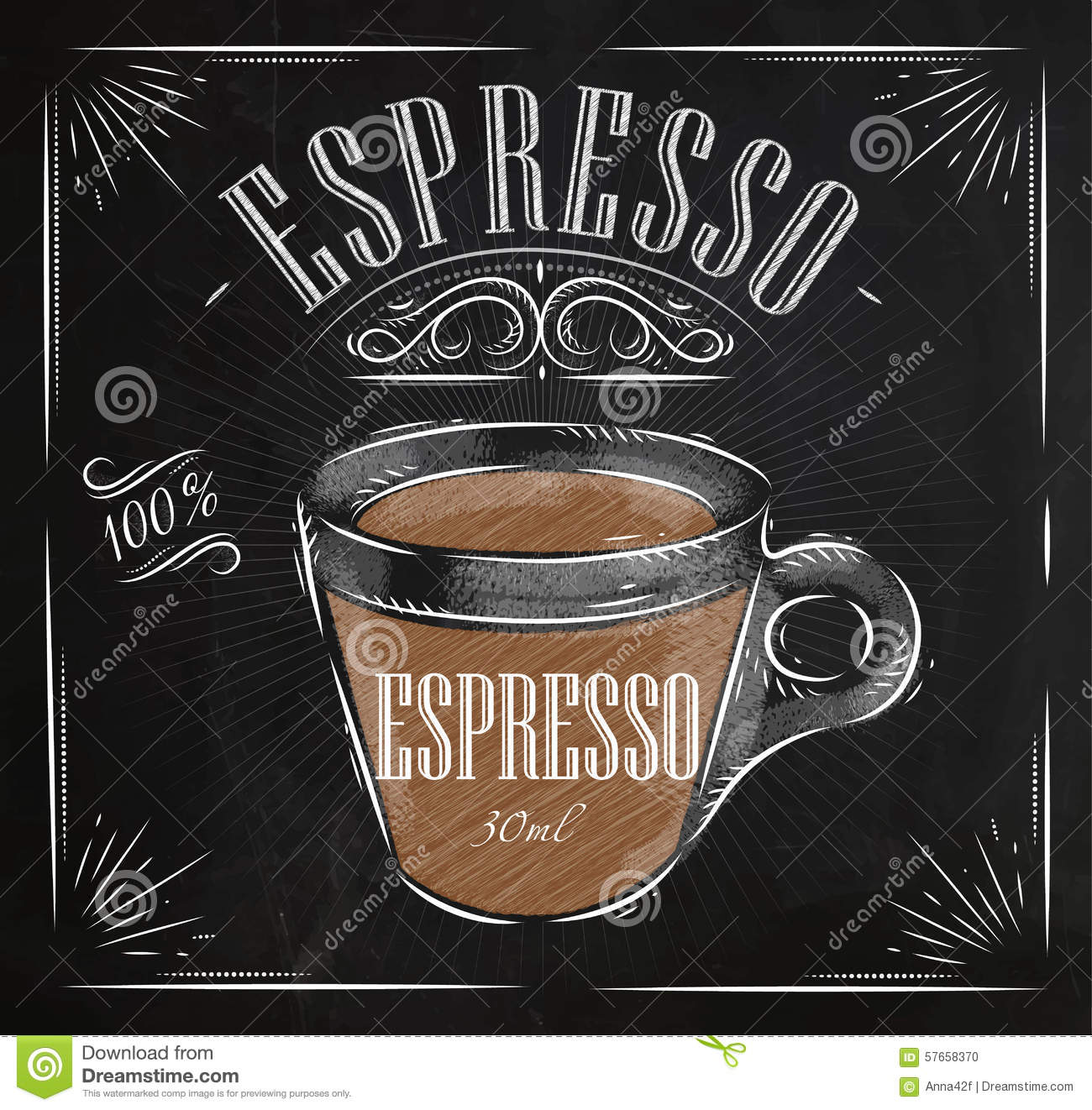 Kaffee Poster Poster Espresso Chalk Stock Vector Illustration Of Glass