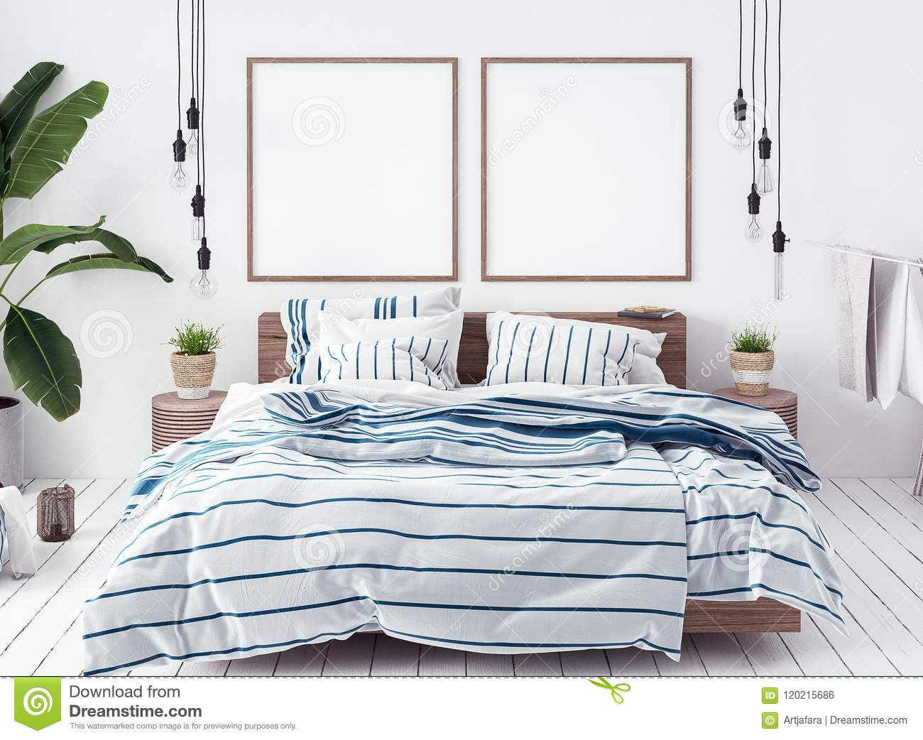 Boho Bedroom Posters Mock Up In New Scandinavian Boho Bedroom Stock Photo