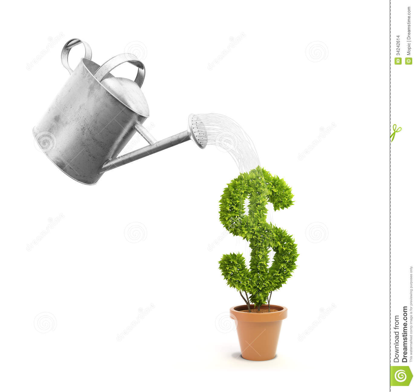 Plant Watering Cans A Pot Plant Shaped Like A Dollar Sign Stock Illustration