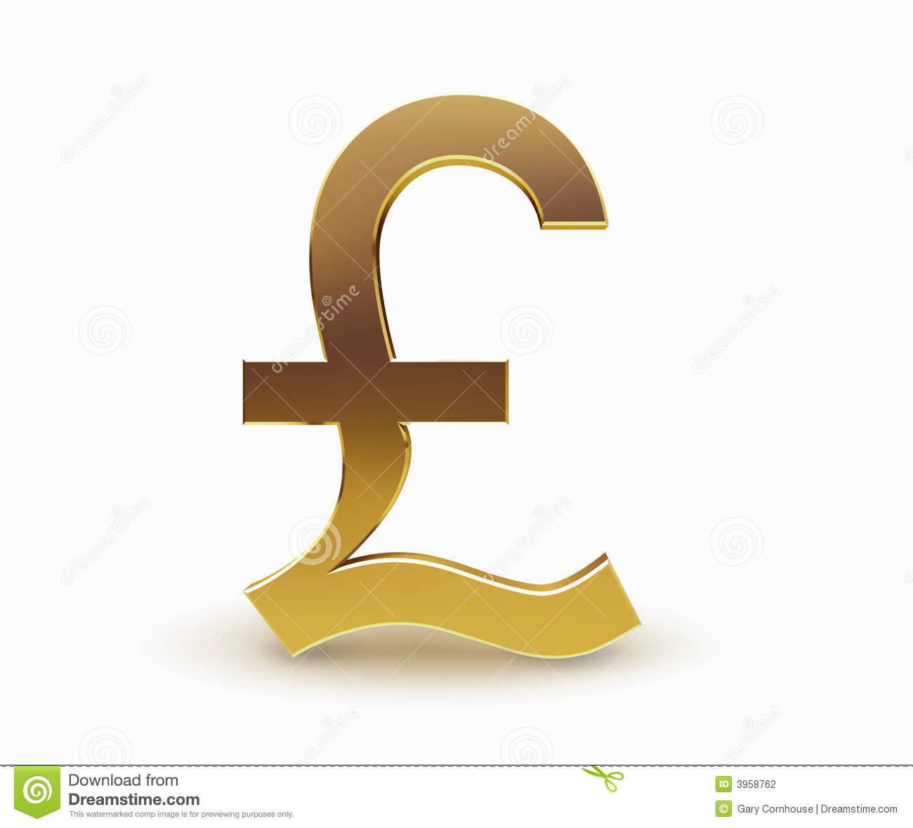 Libras Esterlinas Euros Gold Pound Currency Symbol Royalty Free Stock Photo