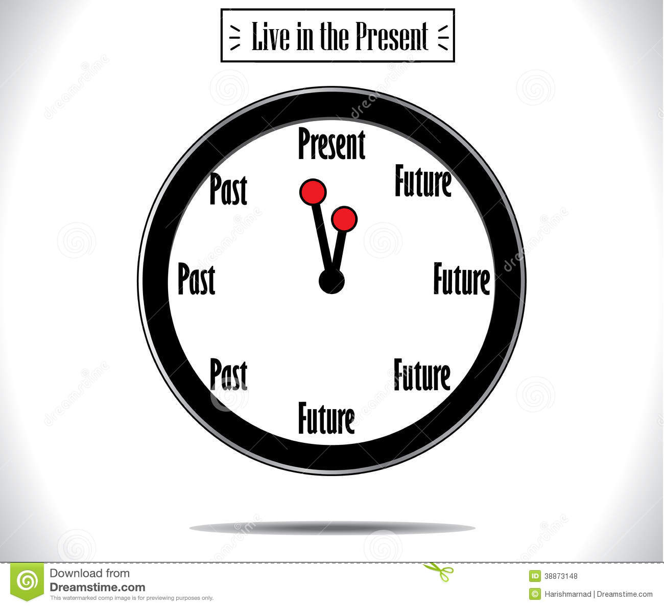 Word Wall Clock Present Moment Concept Illustration Stock Illustration