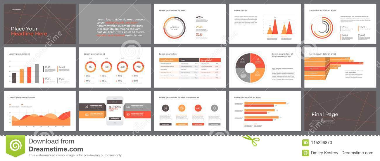 Presentation Template Design With Infographic Stock Vector
