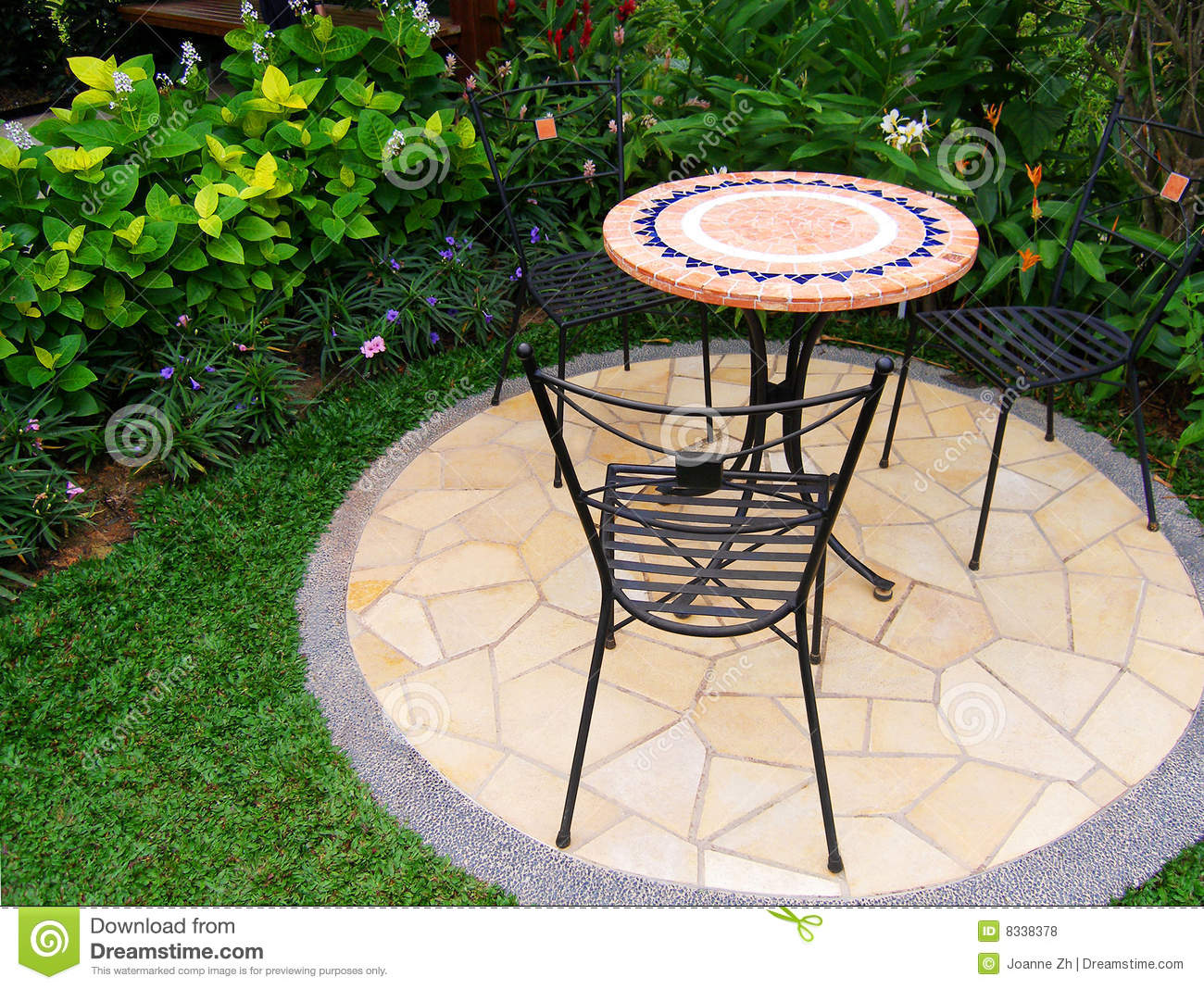 Outdoor Patio Design Pictures Pretty Garden With Paving And Furnitures Stock Photo