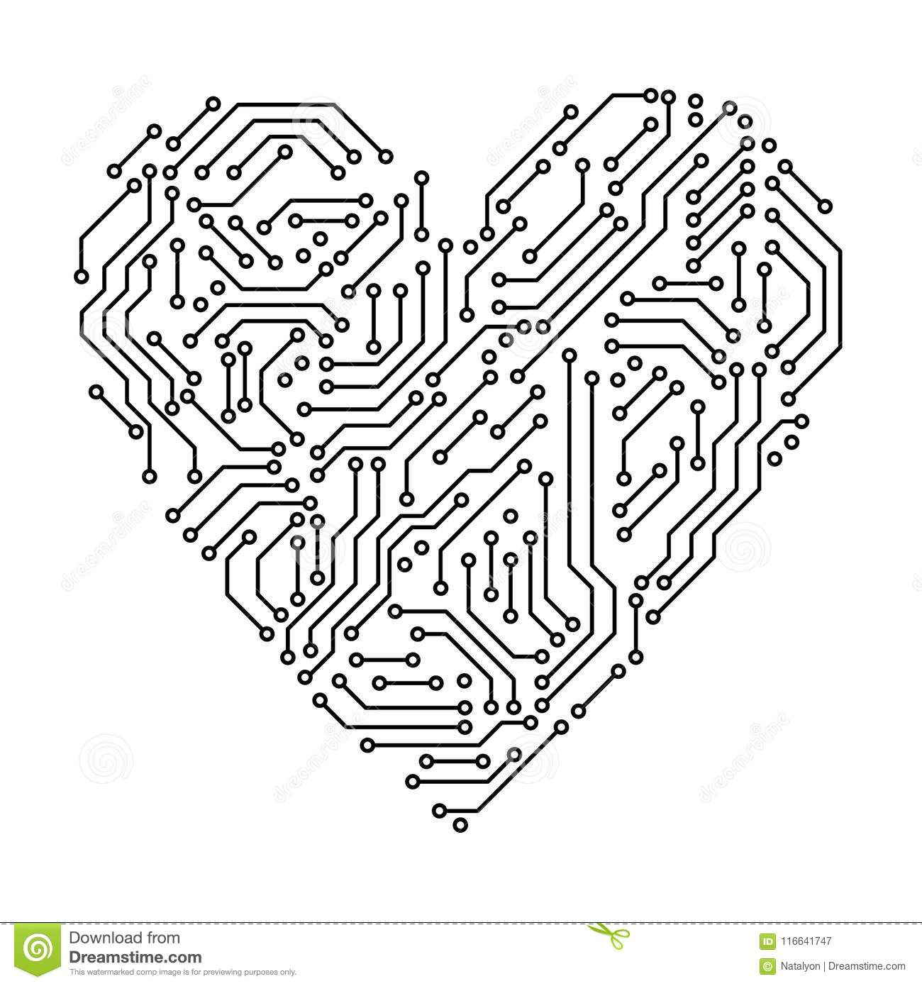 vector circuit board background with heart stock photos image