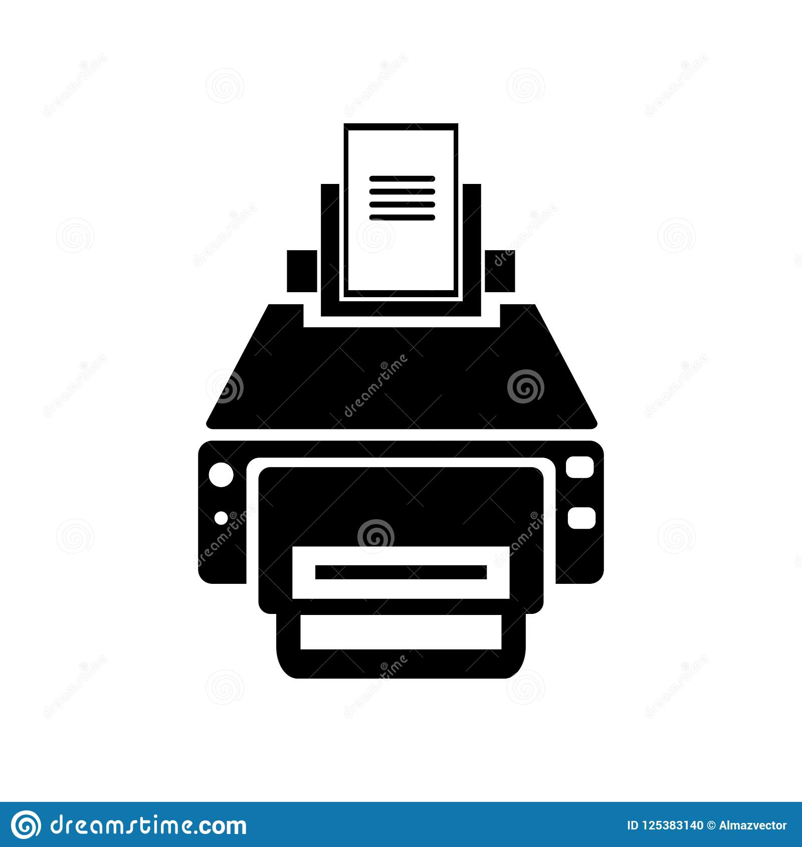 ПЕЧАТЬ ПРИНТЕР Printer With Print And Paper Sheets Icon Vector Sign And Symbol