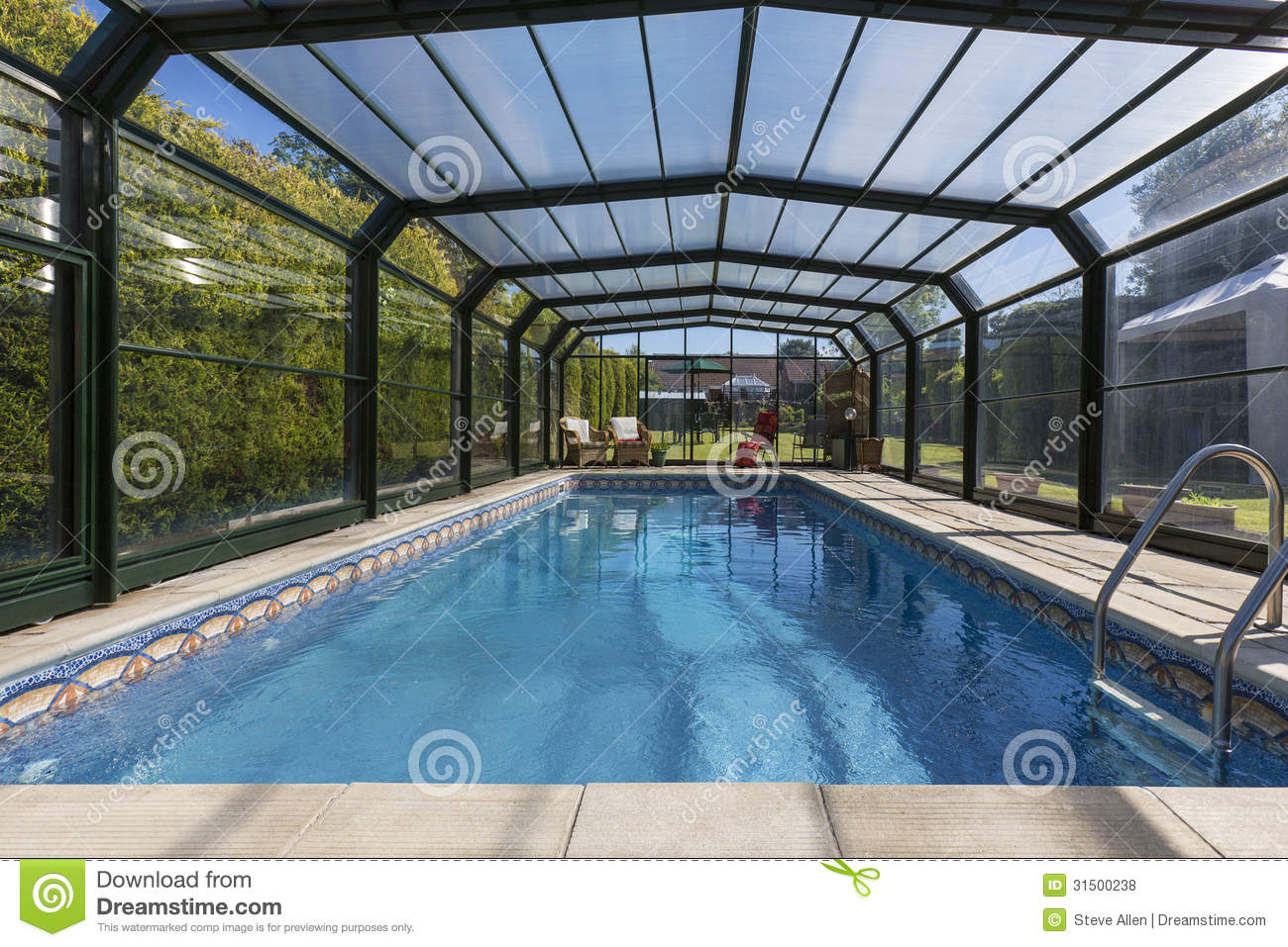 Grando Poolabdeckung Private Heated Swimming Pool And Enclosure Royalty Free