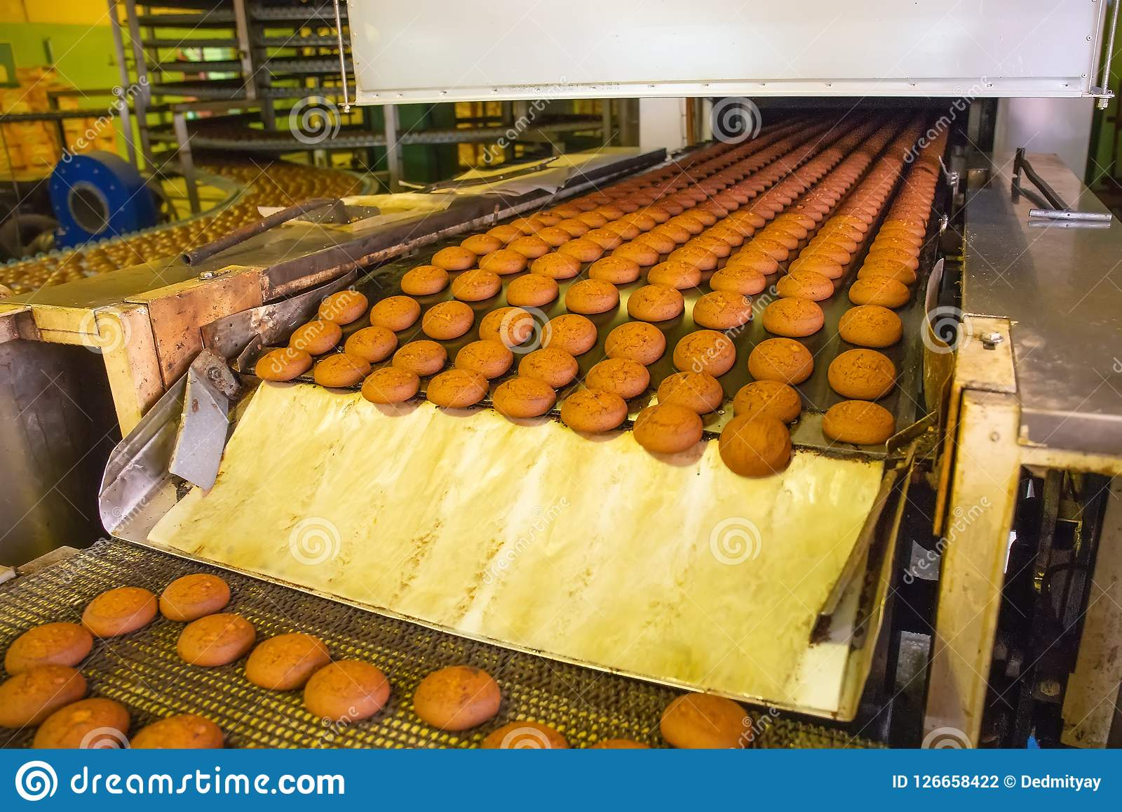 Cuisine Factory Production Line Of Baking Cookies Biscuits On Conveyor Belt In