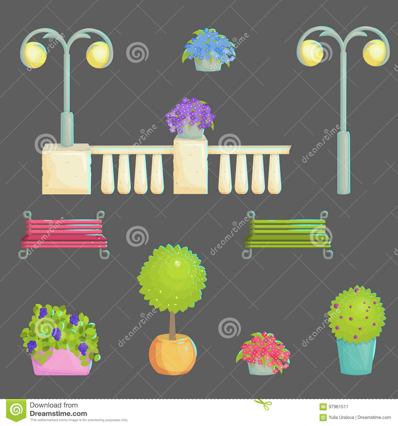 Provence Decoration Provence Style Outdoor Park Decoration Stock Vector