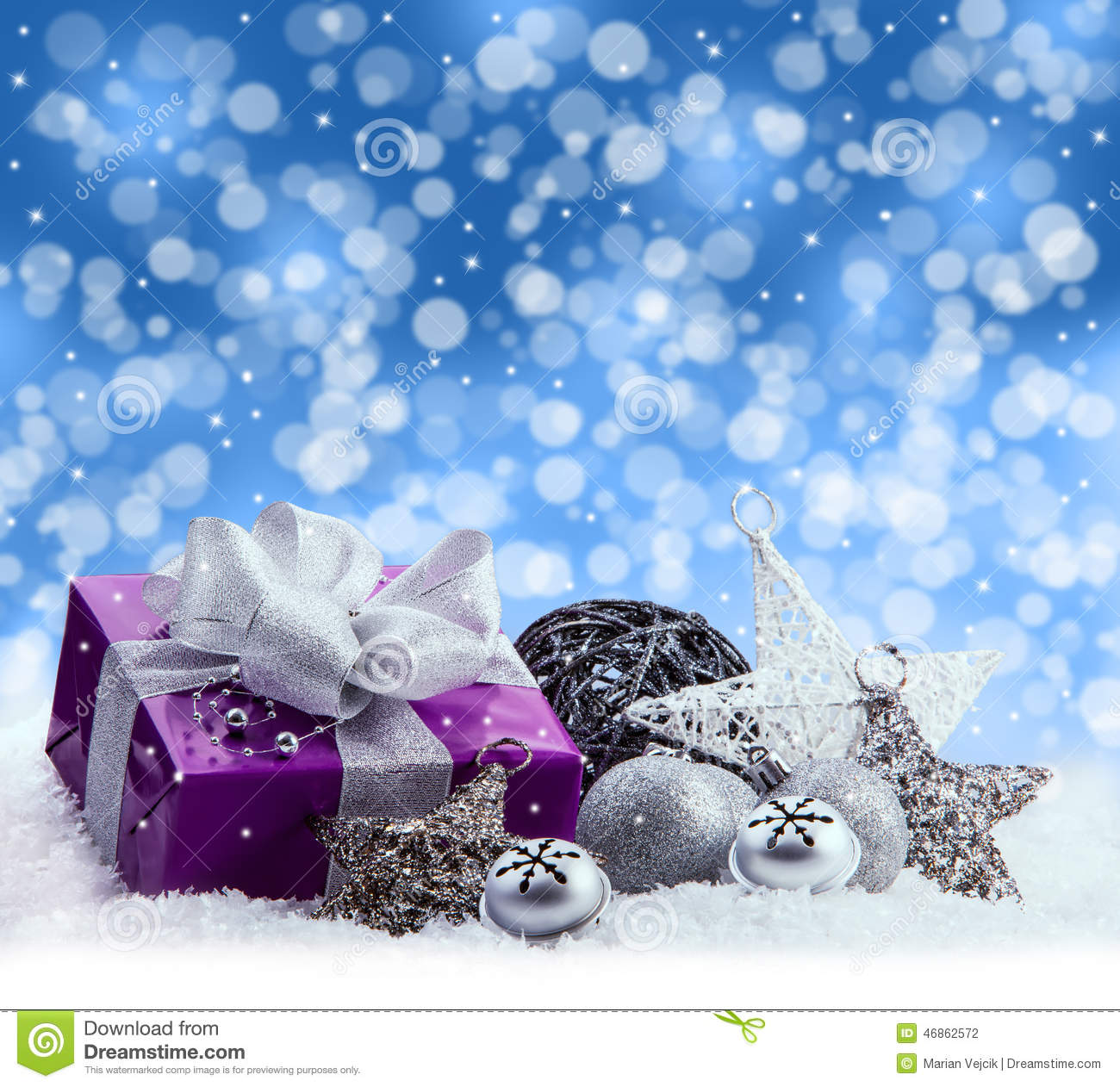 3d Xmas Wallpaper Free Purple Christmas Package Gift Of A Silver Ribbon Jingle