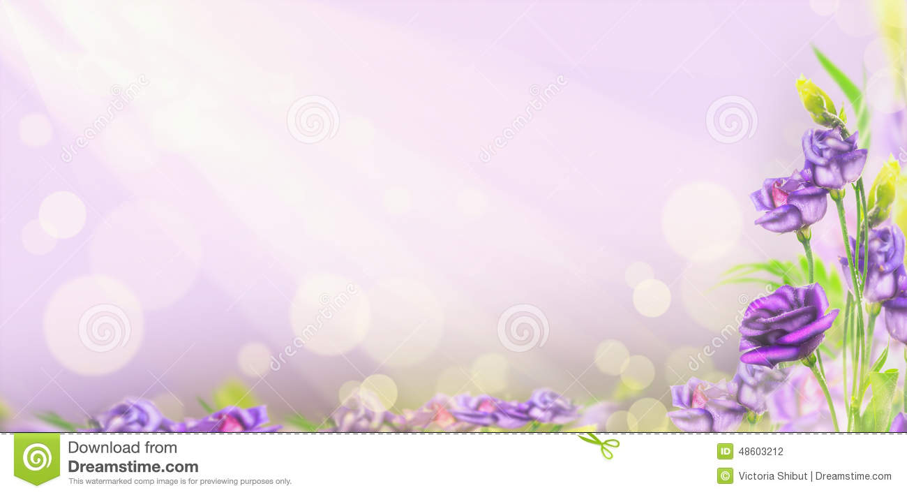 Cute Nail Arts Wallpaper Purple Flowers On Blured Background With Bokeh Banner
