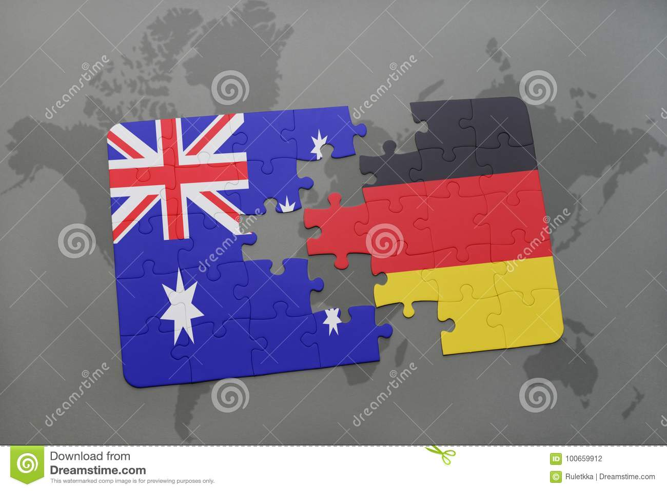 Berlin Puzzle Puzzle With The National Flag Of Australia And Germany On A World