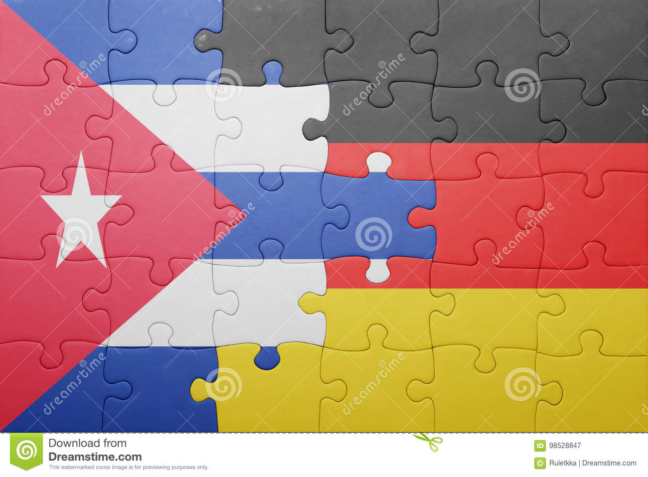 Berlin Puzzle Puzzle With The National Flag Of Germany And Cuba Stock Image