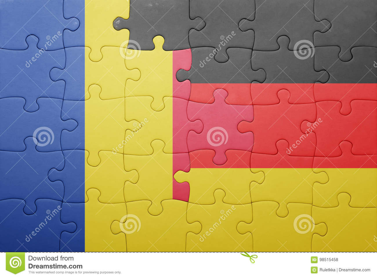 Berlin Puzzle Puzzle With The National Flag Of Romania And Germany Stock