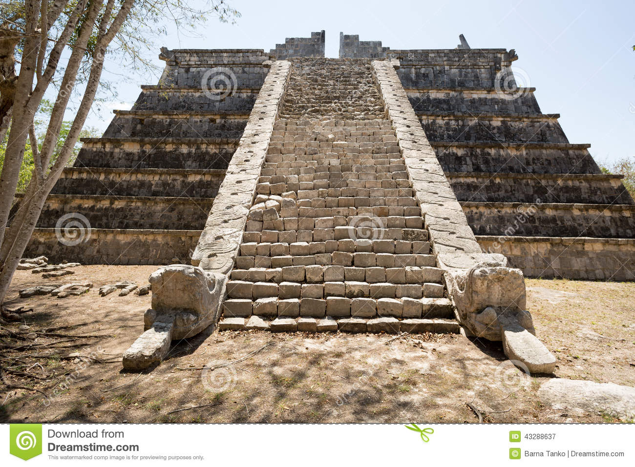 Pyramid Stairs Flanked By Carved Snakes Stock Image