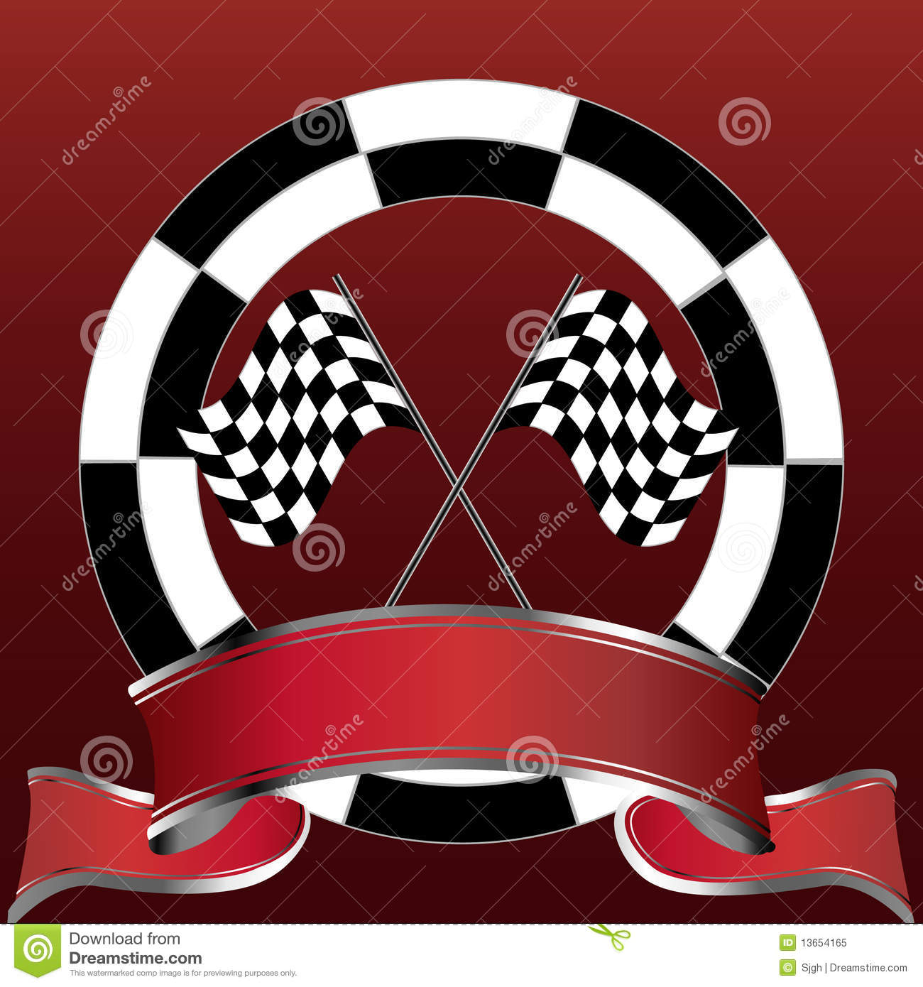 Car Wallpaper Clipart Racing Emblem With Checkered Flags And Red Banner Royalty