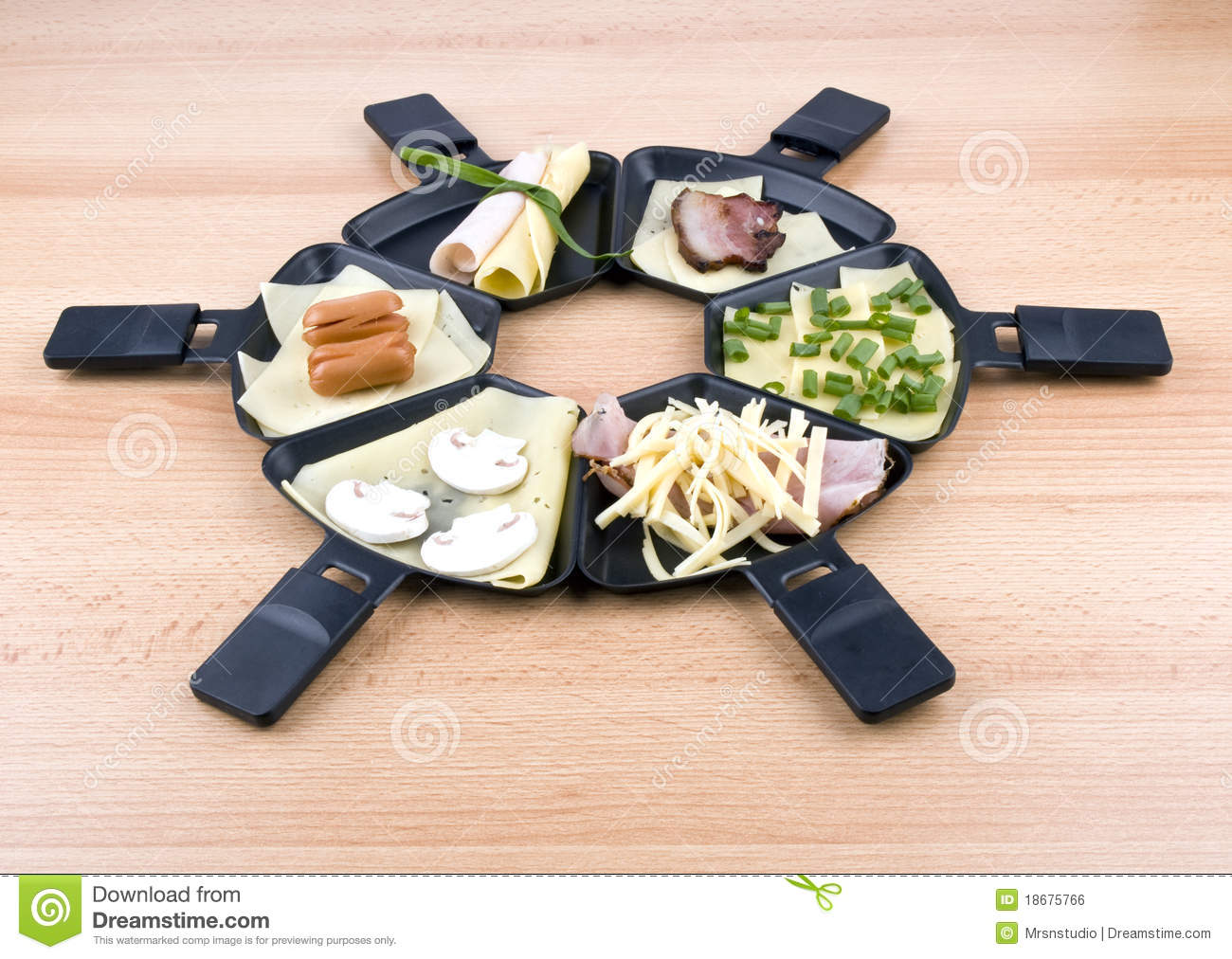 Spring Pizza Raclette 6 Raclette Pans With Food Ideal For Party Royalty Free