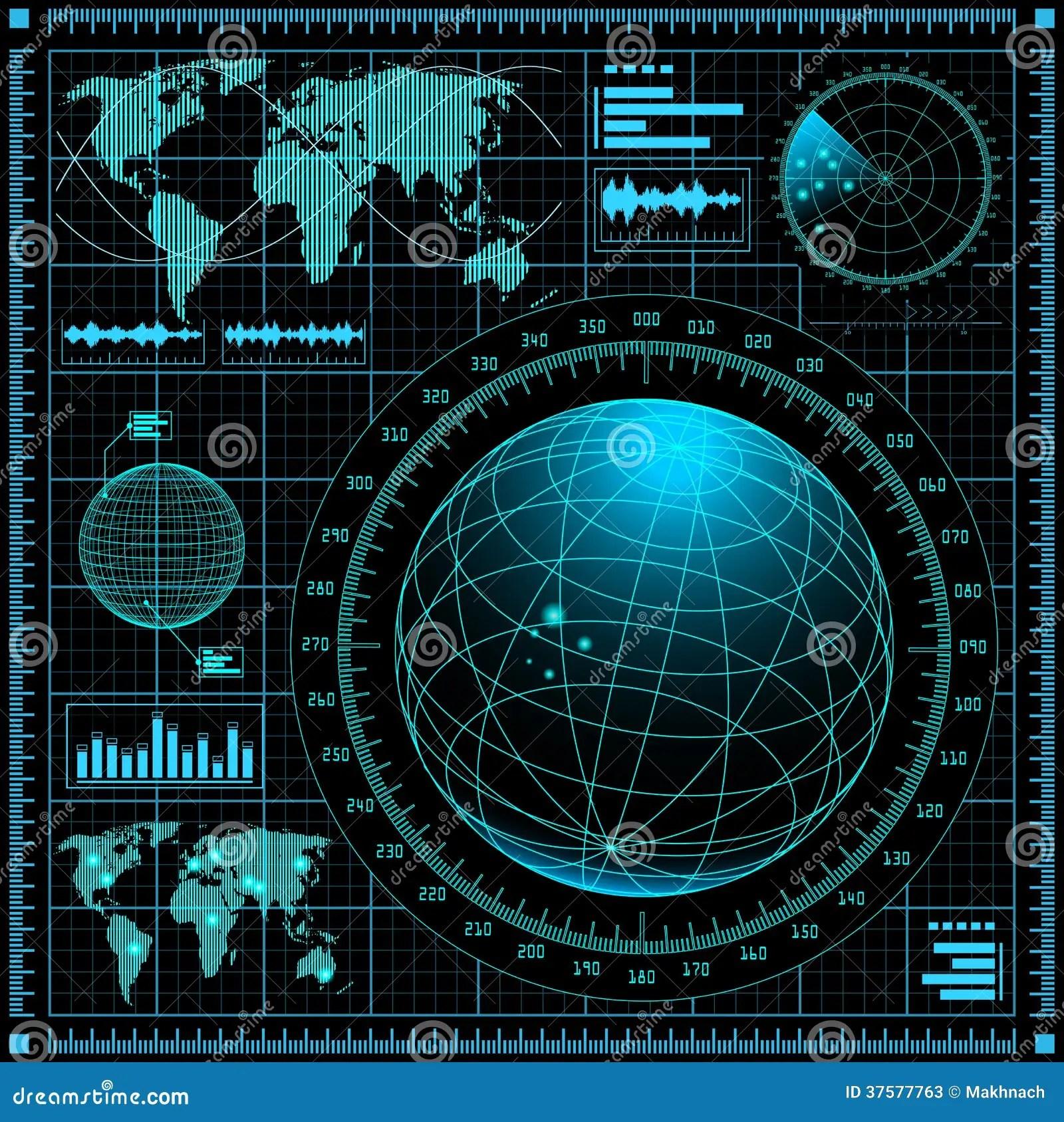Danger 3d Wallpaper Download Radar Screen With World Map Stock Vector Illustration Of