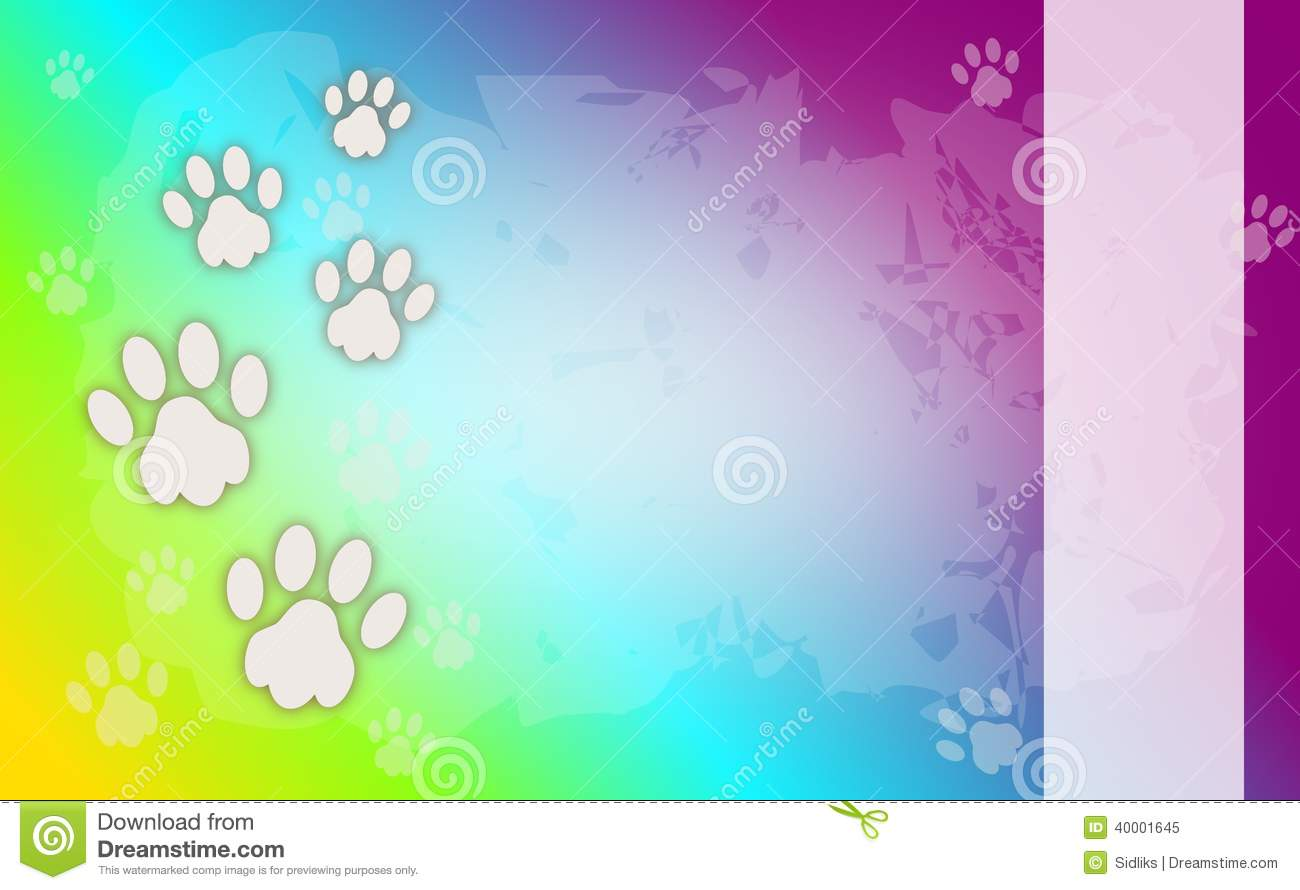 Cool Animal Print Wallpaper Rainbow Background Wiht Dog Paws Stock Illustration