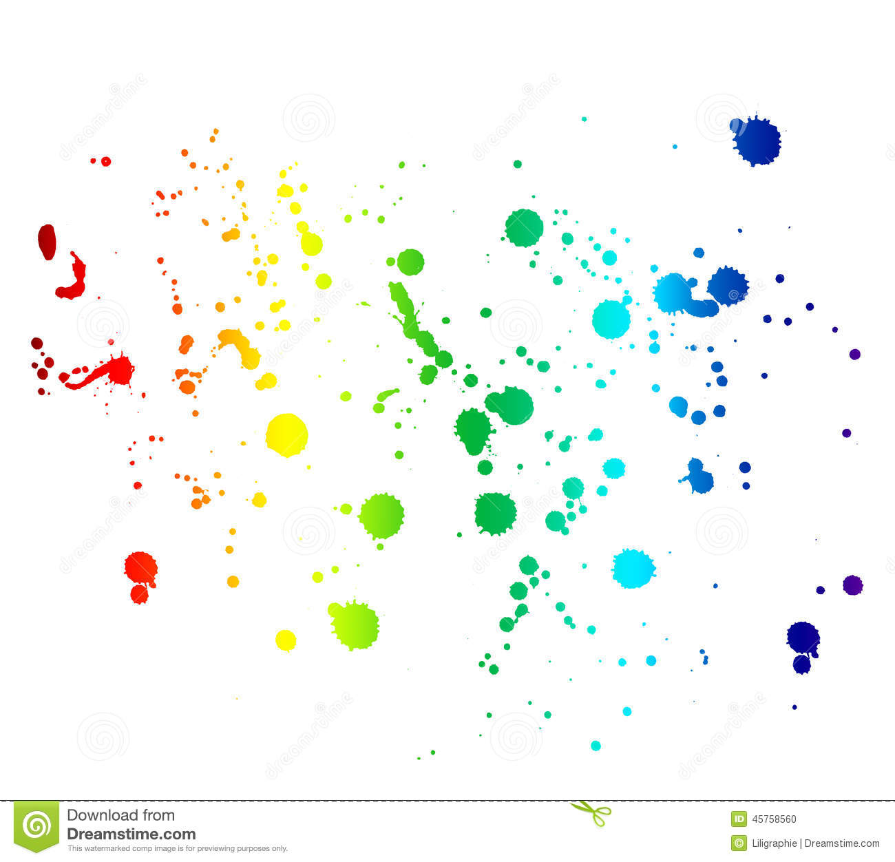 Drops Rainbow 3d Wallpaper Rainbow Colored Ink Stains And Drops Isolated On White