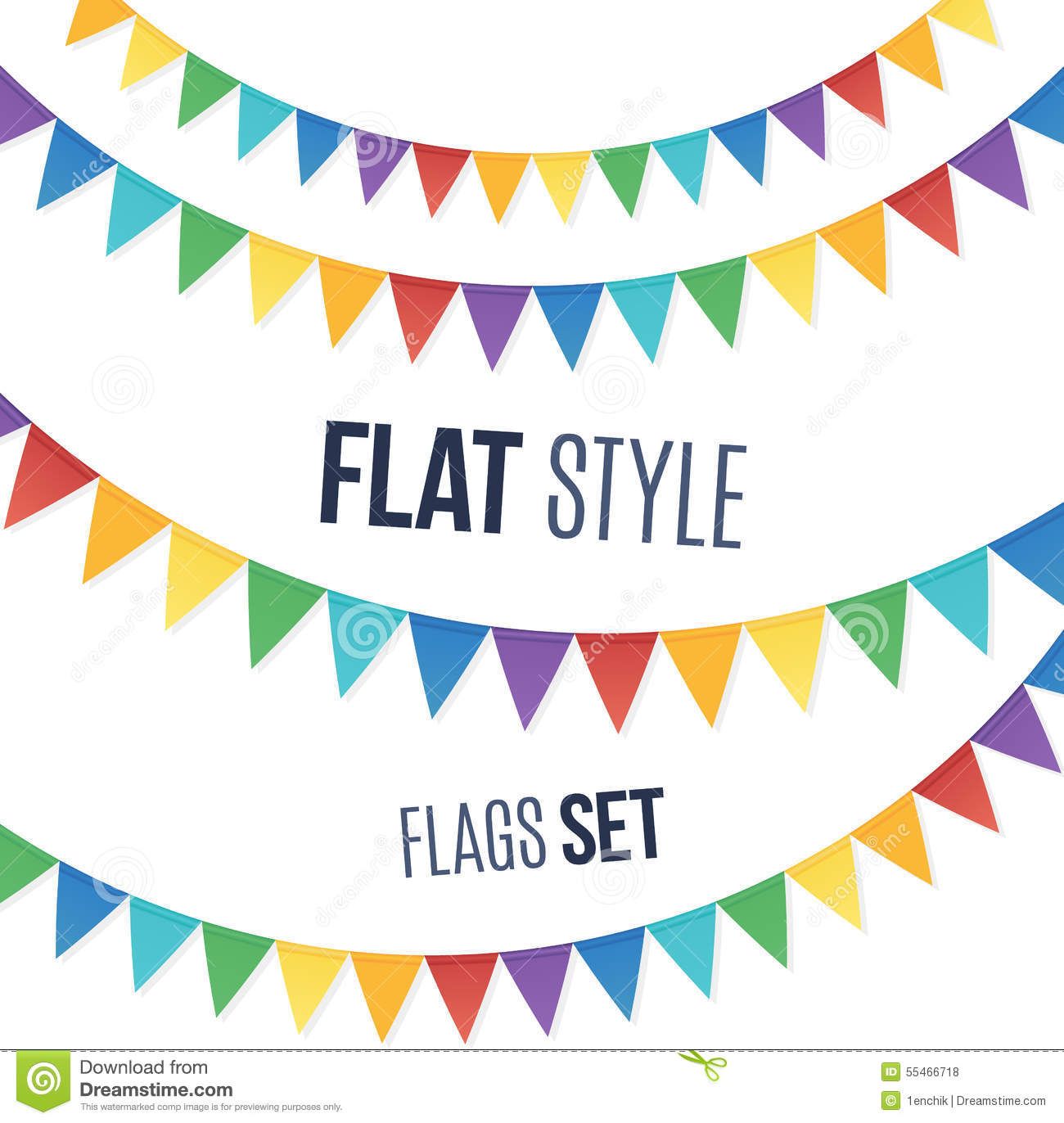 Cute Header Wallpaper Rainbow Colors Flat Style Holiday Flags Garlands Stock