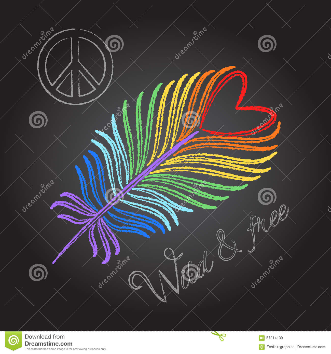 Wallpaper Abstrak 3d Rainbow Feather And Peace Sign Colorful Chalk Drawing