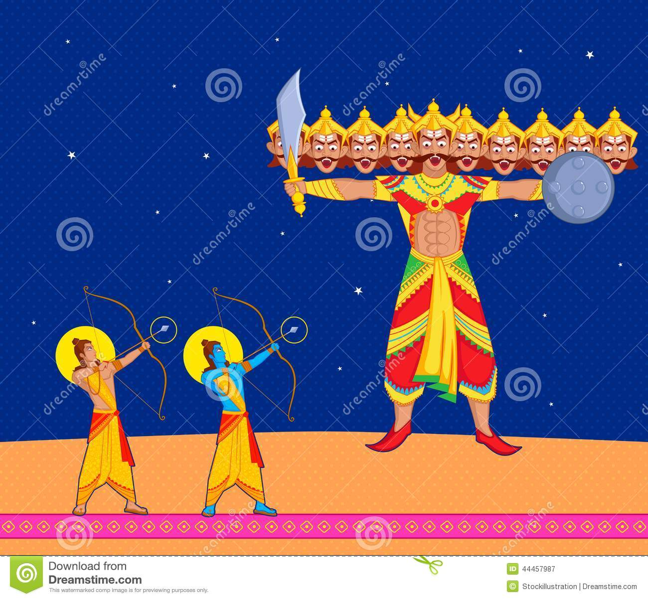 Happy Diwali Animated Wallpaper Rama Killing Ravana In Dussehra Cartoon Vector